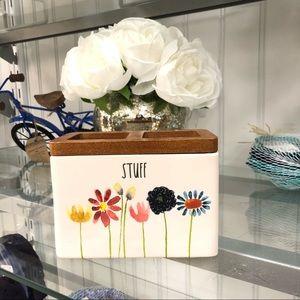Rae Dunn STUFF floral bathroom organizer